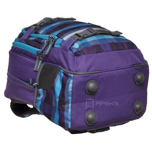 Plecak szkolny SELBY kolor: summer check purple, kolor niebieski