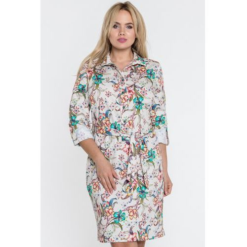 29ac3647a9 Beżowa sukienka koszulowa w kwiaty - mar.