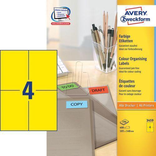 Etykiety kolorowe trwałe Avery Zweckform żółte 105 x 148mm 100 ark./op. 3459 (4004182034590)