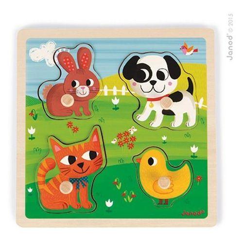 Puzzle sensoryczne drewniane - moje pierwsze zwierzątka j07080 marki Janod