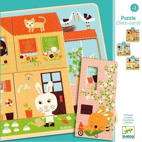 Puzzle dla najmłodszych 3 plansze - króliczki dj01480 marki Djeco