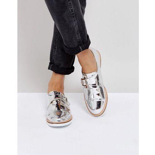 buckle monk shoe on white sole - silver, London rebel