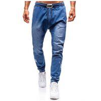 Spodnie jeansowe joggery męskie niebieskie Denley 2055, jeans
