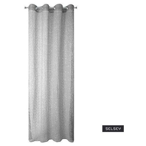 Selsey firana eanthal 140x250 o strukturze siatki z cekinami biała (5903025475417)