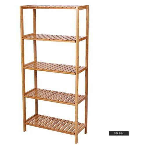 regał łazienkowy naturalel z bambusowego drewna z pięcioma półkami marki Selsey