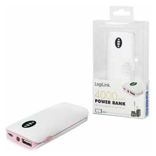 Power Bank LogiLink PA0126P 4.000 mAh, biały / różowy, PA0126P