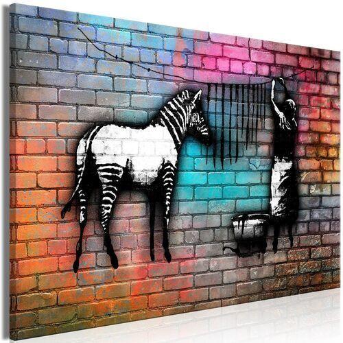 Artgeist Obraz - pranie zebry - kolorowa cegła (1-częściowy) szeroki