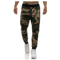 Spodnie męskie dresowe joggery moro-zielone Denley 0865