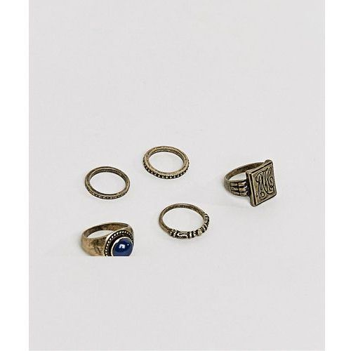 Asos  chunky ring pack in burnished gold with embossing and stone interest - gold