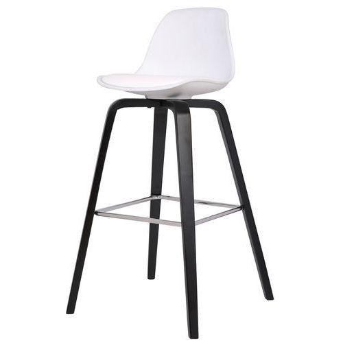 Krzesło barowe ZAKI,białe/czarne, tworzywo sztuczne, drewno bukowe, chrom, 22201-12