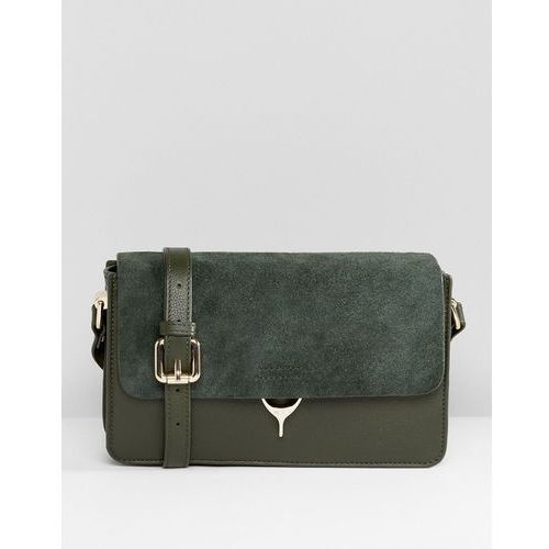 real leather cross body bag with horeshoe clasp closure - green marki Paul costelloe