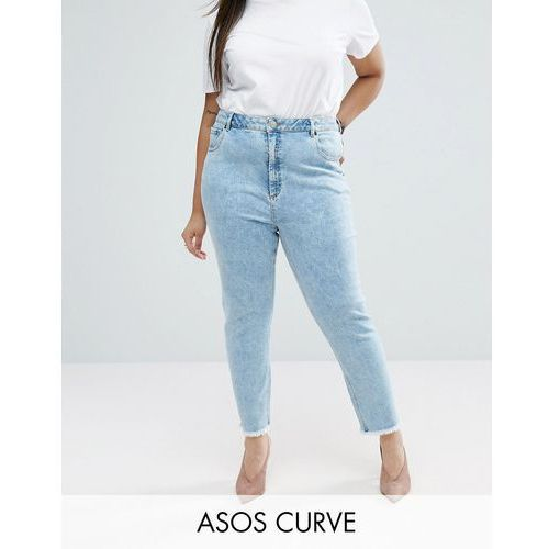 Asos curve  farleigh slim mom jeans in sunni pretty midwash with raw hem - blue