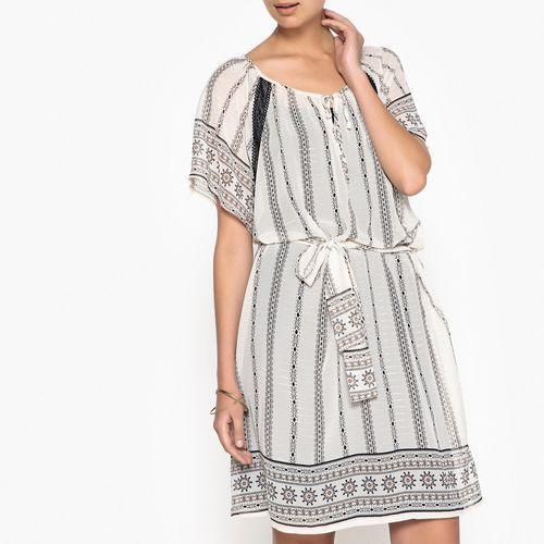 Wzorzysta, rozszerzana fantazyjna sukienka marki Anne weyburn