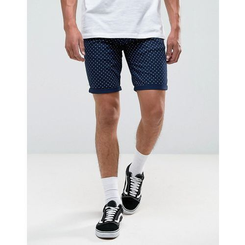 New Look Slim Fit Shorts With Geo Print In Navy - Navy