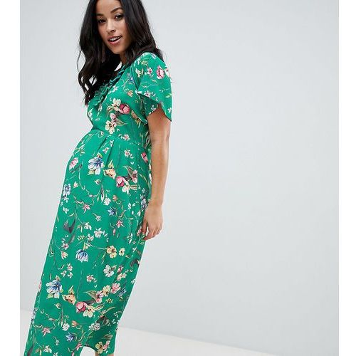 Queen bee fluted sleeve midi dress in green floral print - multi