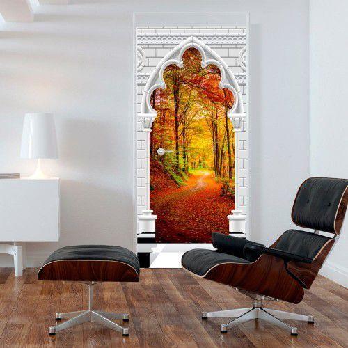 Fototapeta na drzwi - Tapeta na drzwi - Łuk gotycki i las jesienią, A0-TNTTUR_70_0355 (7808467)