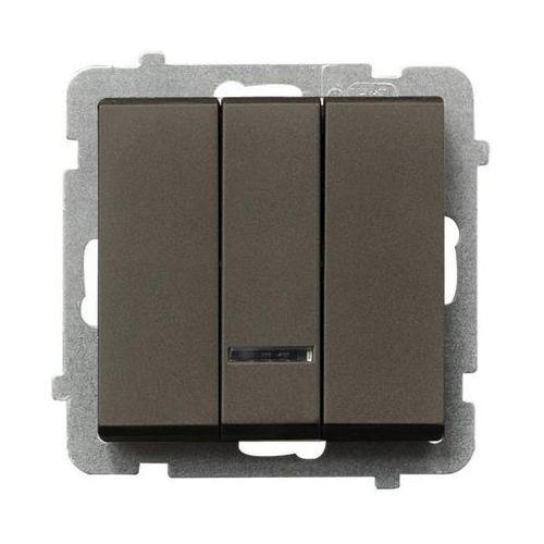 Łącznik potrójny z podświetleniem czekoladowy metalik ŁP-13RS/m/40 SONATA, ŁP-13RS/M/40