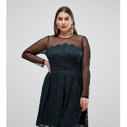 ASOS CURVE Lace & Dobby Mini Skater Dress - Black, 1 rozmiar
