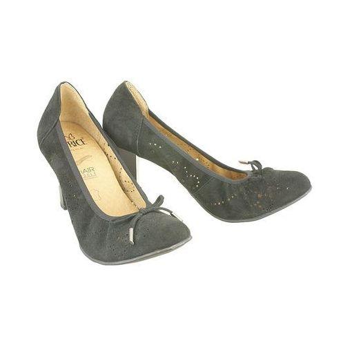 22500-22 black suede, czółenka damskie - czarny, Caprice