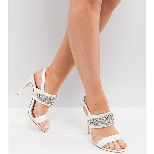 design willow wide fit bridal embellished heeled sandals - cream, Asos