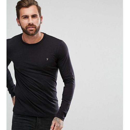 Farah t-shirt with f logo slim fit exclusive long sleeves - black