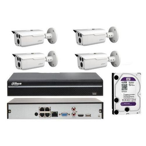 Zestaw do monitoringu na 4 kamery z podglądem online w telefonie i zasięgiem 80 metrów marki Dahua