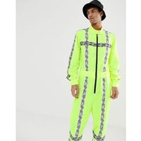 Jaded london festival boilersuit in neon yellow with reflective taping - yellow