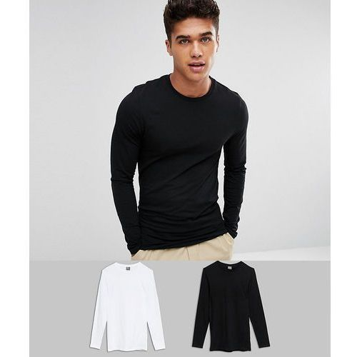 longline long sleeve t-shirt with crew neck in muscle fit 2 pack save - multi marki Asos