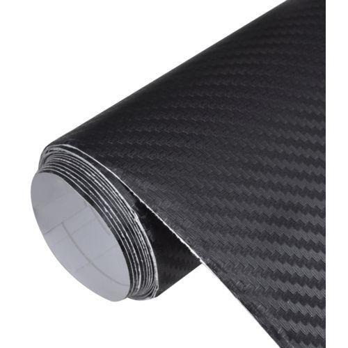 vidaXL Naklejka samochodowa winyl/carbon 3D czarna 152 x 500 cm