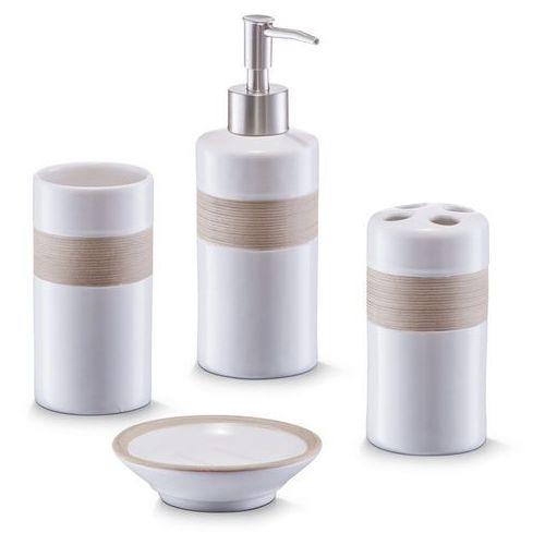 Zeller Ceramiczny zestaw akcesoriów łazienkowych beige - 4 sztuki w komplecie, (4003368182605)