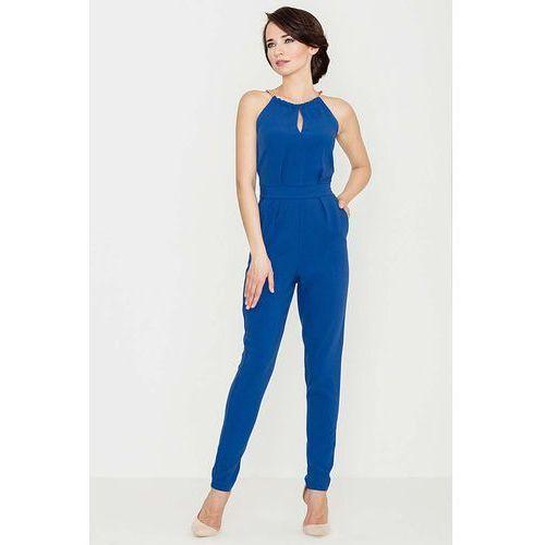 Niebieski Elegancki Kombinezon z Biżuteryjnym Akcentem Wiązany na Szyi