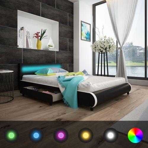 Vidaxl  łóżko z czarnej eko skóry zagłówkiem led 140cm i materacem memoryfoam