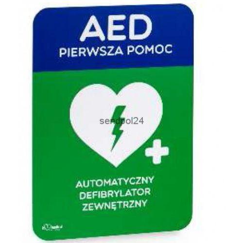 Tablica informacyjna AED ŚREDNIA [ 21 x 30cm ] - produkt z kategorii- Pozostały sprzęt asekuracyjny