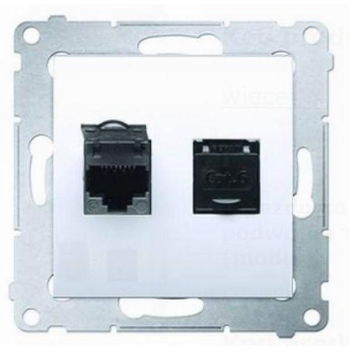 Gniazdo podtynkowe 54 d62.01/46 komputerowe podwójne z przesłoną przeciwkurzową rj45 kategoria 6 brąz mat marki Kontakt-simon