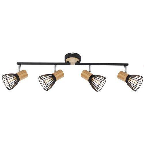 LAMPA sufitowa ANTICA 94-61201 Candellux metalowa OPRAWA listwa SPOT druciane reflektorki drewno czarne barnham, kolor Czarny