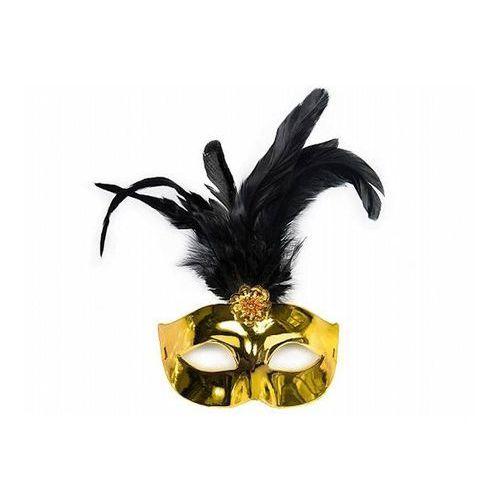 Maska karnawałowa, złota z czarnym piórem
