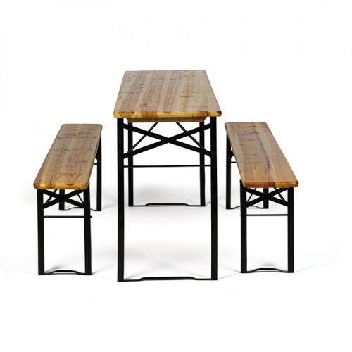 Zestaw ogrodowy bez oparcia - 2x ławki, 1x stół bez oparcia - 2x ławki, 1x stół