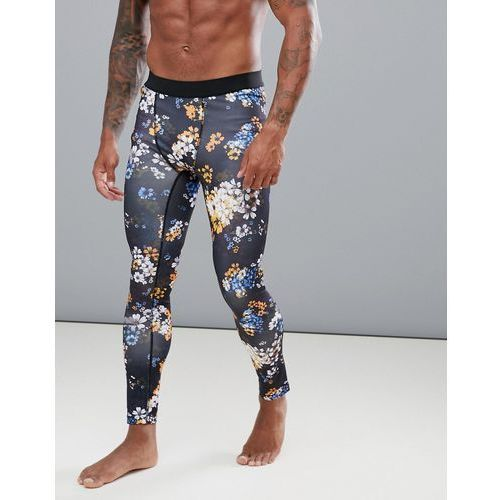 running tights in floral print with quick dry - black marki Asos 4505
