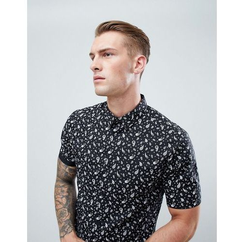 New Look Muscle Fit Shirt With Paisley Print In White - White, kolor biały