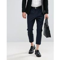 Selected homme + tailored trouser with cropped leg - navy