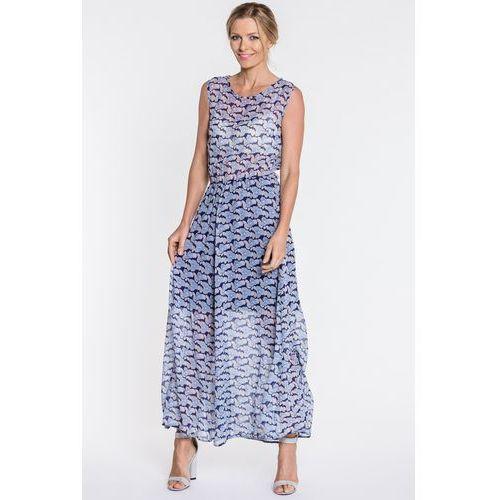 Sukienka maxi w niebieskie kwiaty - Jelonek, 1 rozmiar