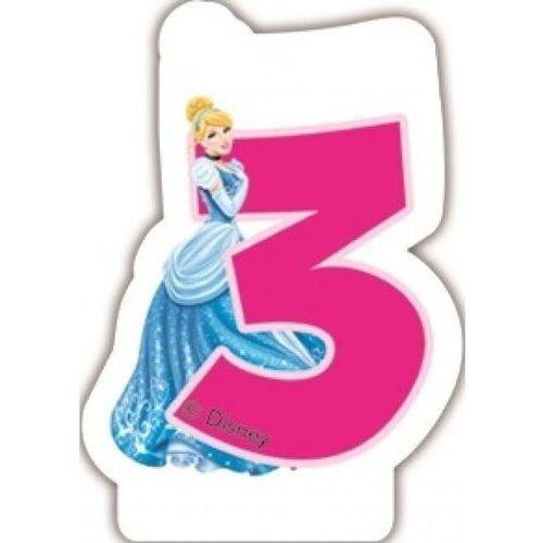 Świeczka w kształcie cyfry 3, disney princess marki Party world