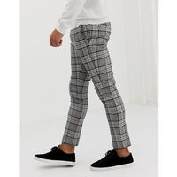 River island super skinny fit smart trousers in navy and grey check - grey