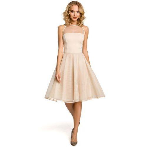 Beżowa Wieczorowa Sukienka z Prześwitującym Modnie Karczkiem, w 4 rozmiarach