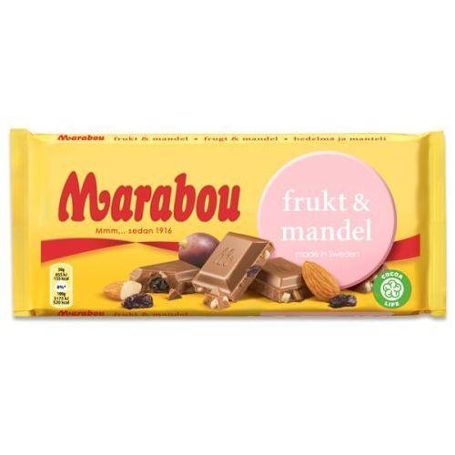 Marabou - Frukt & Mandel - czekolada mleczna z migdałami i rodzynkami - 200g - ze Szwecji