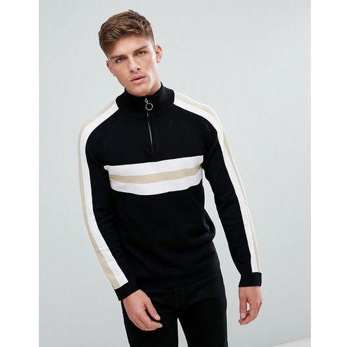 jumper with half zip in retro colour block - black marki Bellfield