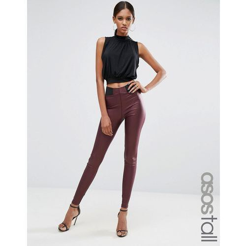 ASOS TALL Leather Look Leggings with Elastic Slim Waist - Red ()