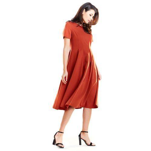 a13d517bf4 Ceglana elegancka rozkloszowana sukienka z krótkim rękawem marki Awama
