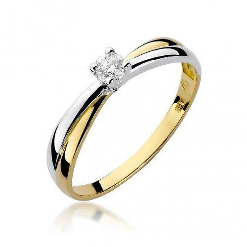 Biżuteria SAXO 14K Pierścionek z brylantem 0,08ct W-230 Złoty, kolor żółty