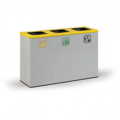 Kosz do segregacji śmieci, 3 x 42 l szary